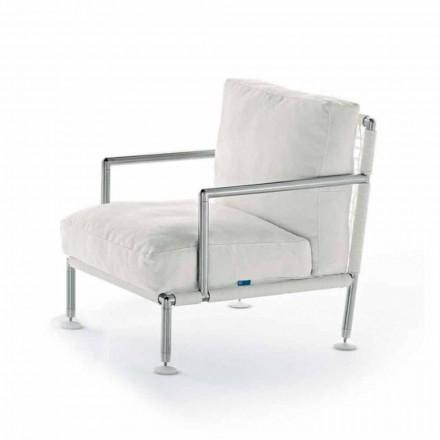Moderner Design-Sessel aus Stahl und schwarzem oder weißem PVC für den Außenbereich - Ontario2