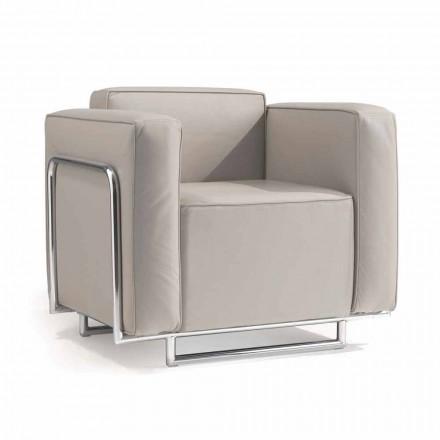 Moderner Sessel aus Kunstleder mit verchromten Gestell Bugola