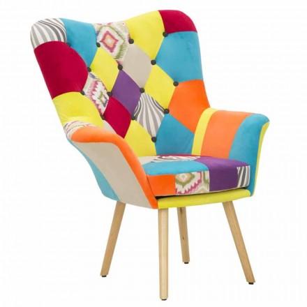 Patchwork Modern Design Sessel aus Stoff und Holz - Karin
