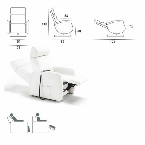 Motorisierter Relax- Drehsessel aus Stoff/Leder/Kunstleder Gemma