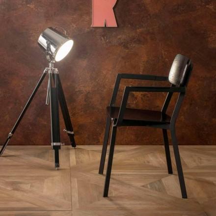Moderner Sessel in modernem Design aus Metall und Holz Elmas