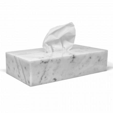 Moderner Taschentuchhalter aus weißem Carrara-Marmor Made in Italy - Rafa