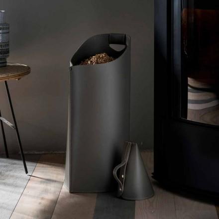 Porta Pellet Schaufel von innen Sapir Design aus schwarzem Leder