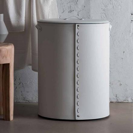 Ovaler Wäschekorb aus regeneriertem Riky-Leder, hergestellt in Italien