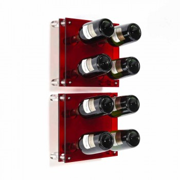 Amin Kleine rote Wand moderne Flaschenregal L30xH30xP13,6cm