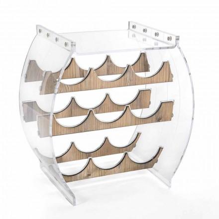 Bodenflaschenhalter in transparentem Plexiglas- und Holzdesign 9 Plätze - Stria