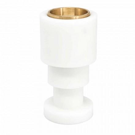 Niedriger Kerzenhalter aus weißem Carrara-Marmor und Messing Made in Italy - Benton
