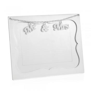 Bilderrahmen Tisch Silber Metall und Glas mit Anhänger für Sie und Ihn - Nunzio