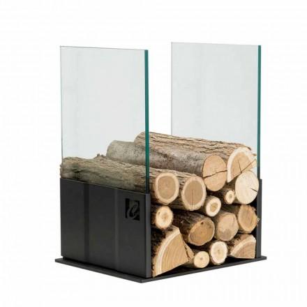 Niedriger Brennholzhalter in modernem Design aus schwarzem Stahl und Glas - Maestrale4