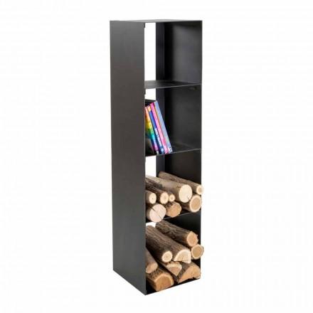 Schwarzer moderner Holzhalter mit Regalen Made in Italy - Cauro1