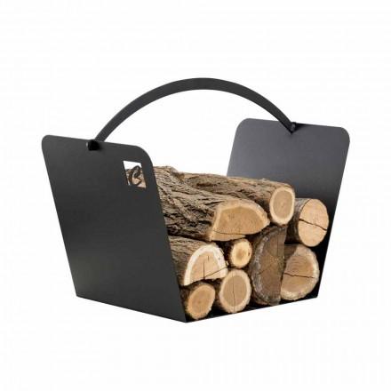 Schwarzer Stahl Moderner Holzhalter Kaminholz Hergestellt in Italien - Libeccio