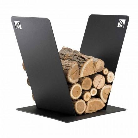 Holzhalter für Kamin Modernes Design aus schwarzem Stahl Made in Italy - Vespero