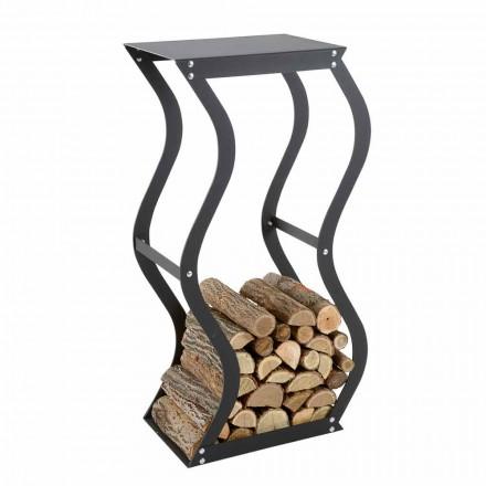 Design Holzhalter aus schwarzem Stahl für den Innenbereich Made in Italy - Traversone
