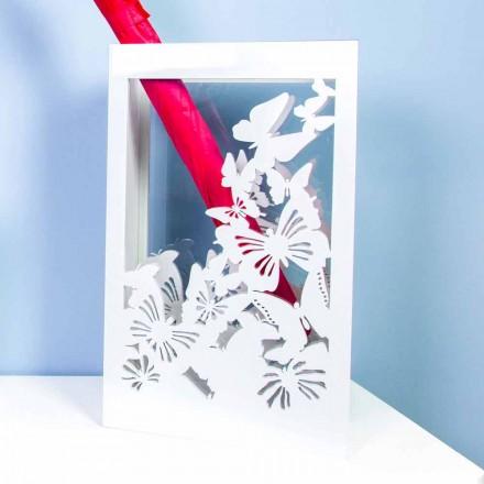 Weißer hölzerner Schirmständer mit modernem Design verziert mit Schmetterlingen - Papilio