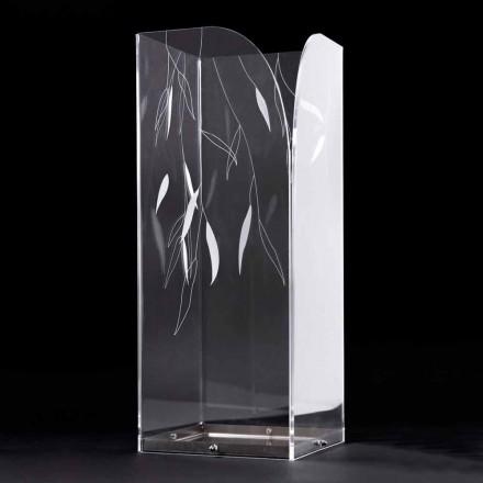 Design Schirmständer aus transparentem Plexiglas mit gravierten Blättern - Kanno