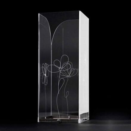 Transparenter Schirmständer aus Kunststoff mit gravierten, stilisierten Blättern - Florino