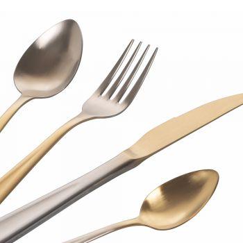 24-teiliges Besteck aus mattem Edelstahl in Gold und Silber mit Farbverlauf - Posh