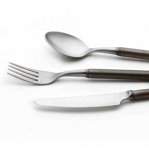 24-teiliges Besteck aus Satinstahl Italienisches Handwerkerdesign - Damerino