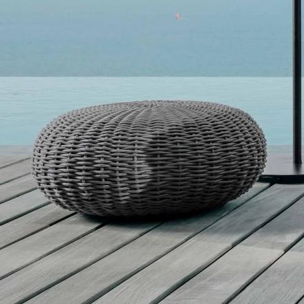 Großer runder Garten-Pouf Jackie by Talenti aus synthetischem Stoffgeflecht