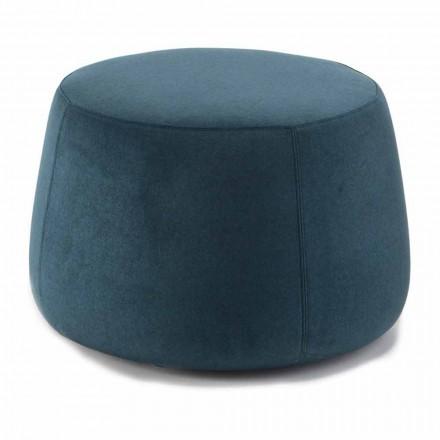 Weicher runder Hocker für Wohnzimmer in farbigem Samt 3 Dimensionen - Evelyne