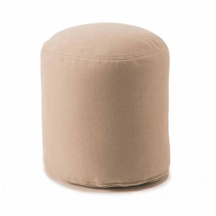 Weicher runder Hocker für Wohnzimmer im Innen- oder Außenbereich aus farbigem Stoff - Naemi