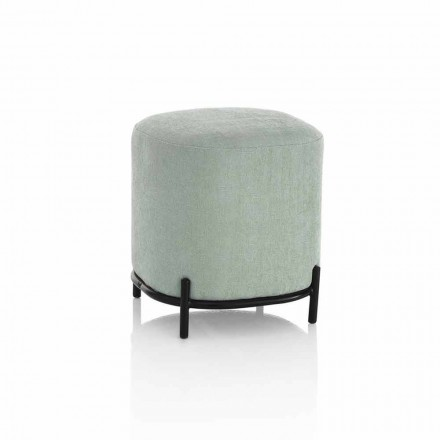 Runder Hocker für Wohnzimmer in grünem oder grauem Stoff Modernes Design - Ambrogia