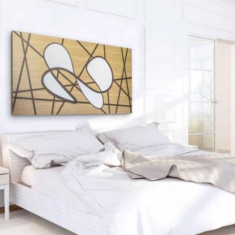 120x60 Rahmen in Eiche und weißer Karosserie von Hand bearbeitet und Flachreliefs - Sambuca