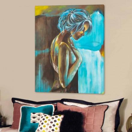 Modernes Gemälde mit Frau handdekoriert Made in Italy Sweet