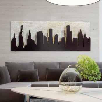 Moderne Malerei auf Leinwand mit geprägtem Manhattan Kaffee farbenen Donald