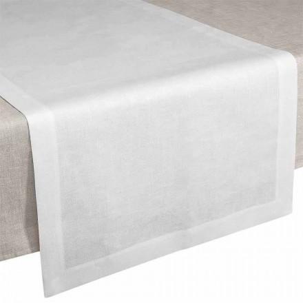 Tischläufer aus cremeweißem Leinen 50x150 cm Made in Italy - Mohn