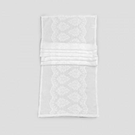 Tischläufer 100% Leinen mit Stickerei von Luxus-Design - Giuggiolo