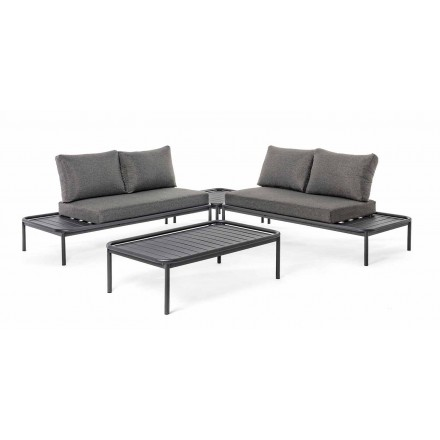 Moderne Outdoor Lounge aus Aluminium und Anthrazit Homemotion - Palmira