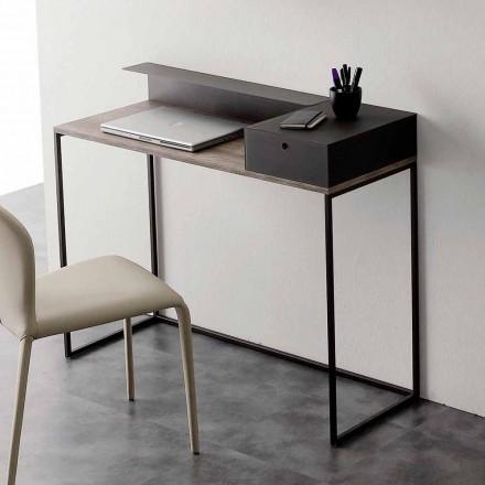 Moderner Schreibtisch aus Metall und Melamin mit Schublade Made in Italy - Iridio