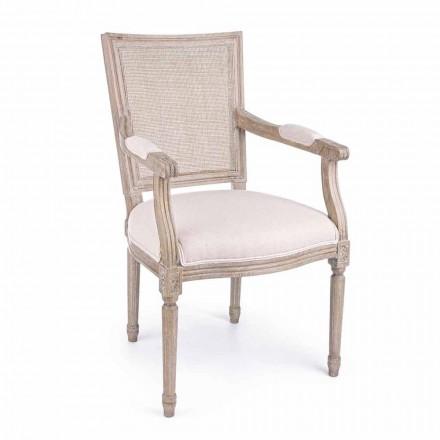 Klassischer Stuhl mit Armlehnen aus Eschenholz und Homemotion-Stoff - Baiser