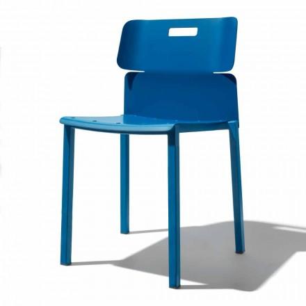 Farbiger stapelbarer Stuhl für den Außenbereich aus Aluminium Made in Italy - Dobla