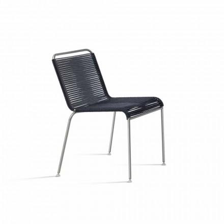 Design Outdoor Stuhl aus Stahl und Kordel Made in Italy - Madagaskar1