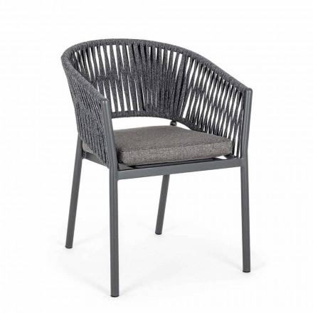 Stapelbarer Gartenstuhl mit Stoffsitz, Homemotion 4 Stück - Aleandro