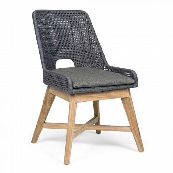 Outdoor Stuhl aus Seil und Stoff mit Homemotion Teak Base, 2 Stück - Lesya