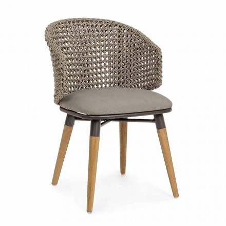 Tortora Outdoor Stuhl aus Holz, Aluminium und Homemotion Stoff - Luana