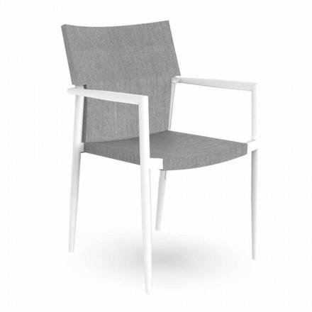 Gartenstuhl mit stapelbaren Armlehnen aus Aluminium und Textilene - Adam Talenti