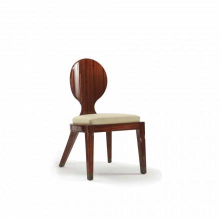 Gepolsterter Esszimmer Stuhl aus glattem Holz, 51x53cm, Design Nicole