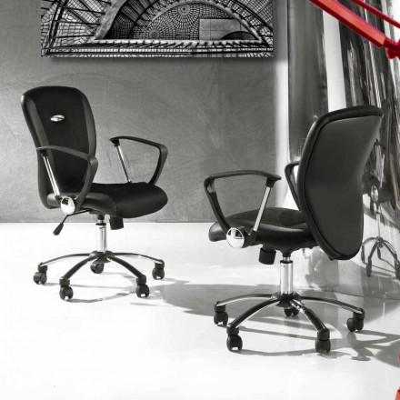 Bürostuhl mit drehbaren Rädern aus Kunstleder und Metall - Amarilda