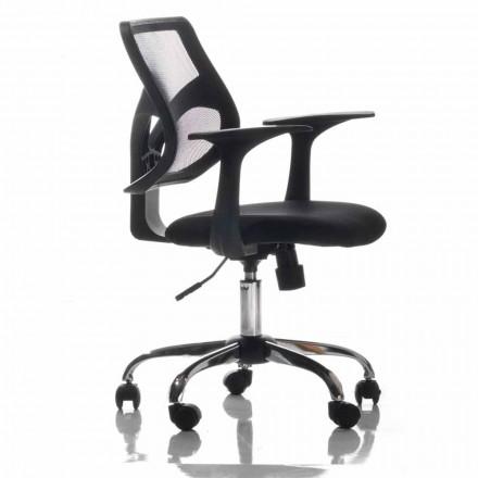 Bürostuhl mit rotierenden Rädern, Schwarz und Gewebe - Giovanna