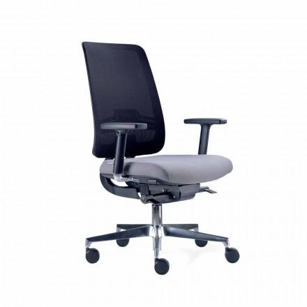 Bürostuhl mit drehbaren Rädern in Schwarz und Stoff Tecnorete - Menaleo