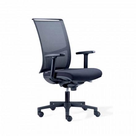 Semidirektionaler Bürostuhl aus Tecnorete und schwarzem Stoff - Vespasiano