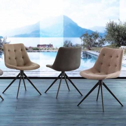 Design Polsterstuhl mit Druckknöpfen aus Stoff oder Nabukleder Venezia