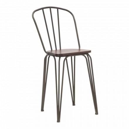 Moderner Designstuhl im Industriestil aus Eisen und Holz, 2 Stück - Erika