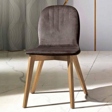 Stuhl mit modernem Design aus Samt und Holz, hergestellt in Italien, Carola