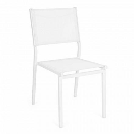 Stapelbarer Gartenstuhl aus Aluminium und Textilene, Modernes Design - Franz
