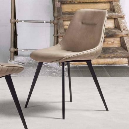 Stuhl aus Kunstleder Nubuk-Effekt, Metallstrucktur - Ermes